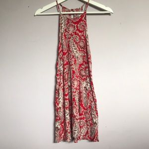 Red Paisley print dress